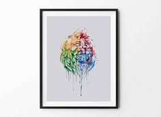 Lion poster, Lion art, Animal Wall Art, Digital Download Poster, Home Decor, Set of 5 JPG, Artwork, Picture, Paint, Rainbow, Spray by BFWorkroom on Etsy
