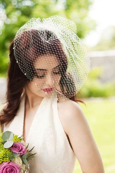 Stunning Iconic Birdcage Veil with Pealrs