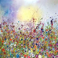 Wild Love Oil On Canvas and Mixed Media Wild Flowers - Yvonne Coomber Contemporary Art For Sale, Wild Love, Glitter Canvas, Art And Technology, Canvas Art Prints, Bunt, Flower Art, Wild Flowers, Watercolor Art
