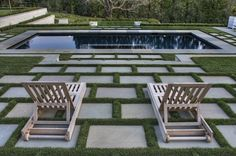 Geometric Pool with Grass Deck 84 Fake Grass for Dogs for Contemporary Deck Also. Geometric Pool w Outdoor Rooms, Outdoor Gardens, Outdoor Living, Outdoor Decor, Courtyard Gardens, Outdoor Stairs, Modern Gardens, Small Gardens, Paver Designs