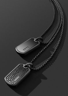 Black titanium tags.