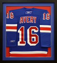 New York Rangers Avery Hockey Jersey framed in a shadowbox. Custom frame design by Art and Frame Express in central NJ at our Edison location.