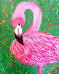 Connie- Funfetti Flamingo Easy Canvas Painting, Disney Characters, Canvas, Painting, Art, Color