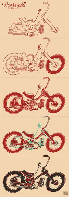 Custom monkey bike illustration by Brusco.es