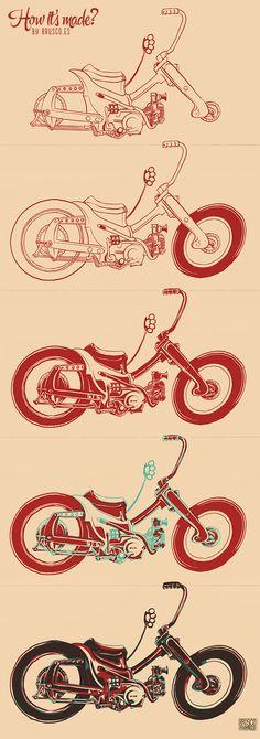 Custom monkey bike illustration by Brusco.es