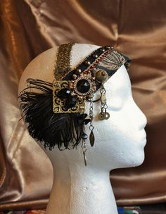 Flapper Headdress- Caviar- Tribal Fusion, Bellydance, Costume, Black Feathers. $70.00, via Etsy.