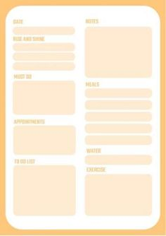 Orange complete daily planner template, customizable and printable, to organize your entire day from your tasks, to your meals and exercises. Have a daily planner designed for and by you! Daily Planner Printable, Planner Template, Family Calendar, Daily Planners, Bright Yellow, How To Stay Motivated, Getting Organized, Exercises, Templates