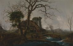 Winter landscape, by George Smith. 1750. Oil on canvas. On VintPrint.com. #art #poster #british #painting