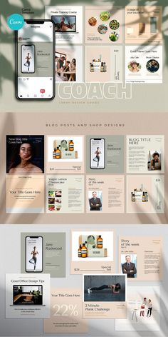 COACH - Canva Instagram Template  Instagram Canva Template for coaches, teachers, food bloggers, podcasters, personal trainers, nutrition experts and entrepreneurs. Featuring eye-candy minimalistic template designs to get your audience and sell your digital offers and courses. Coach Instagram, Being Used Quotes, Branding Template, Cosmetic Shop, Checklist Template, Brand Building, Coaches, Colorful Backgrounds, Trainers