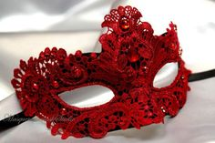 Ruby Red Masquerade Mask ~