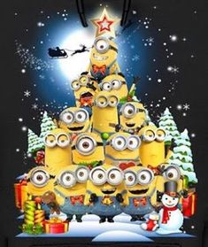 Merry Minion Christmas - Back Merry Christmas Minions, Christmas Cartoons, Christmas Time, Christmas Cards, Xmas, Amor Minions, Cute Minions, Minions Quotes, Christmas Background