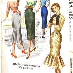 1950s Mermaid Hem Wiggle Skirts McCall's by VtgSewingPatterns