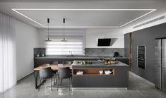 דגם מטבח אפור גרפיט מהקולקציה המודרנית - Semel Kitchens Kitchen Room Design, Modern Kitchen Design, Modern Kitchen Interiors, First Home, Interior Design, House Styles, Table, Furniture, Home Decor