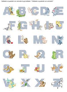 alfabeto a quadretti con animalini