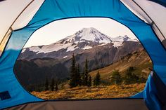 Mount Baker Bedroom Window A shot of Mount Baker from a tent's open door. Skyline Divide Washington State hike hiking wilderness outside PNW outdoors pacific northwest explore mountain view views quest live authentic outbound sunrise Mount Baker bedroom window