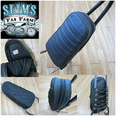 Check out the new 232 SISSY BAR BAG available from Slim's Fab Farm. This sissy bar bag is one size fits all, is a padded zipper topped bag that is large enough for two thirty two oz. beverages and a little more. The bag is attached with cross lace and steel grommets. It can be used as a passenger pad if you stuff it with a sweater or T-shirt. These are available in pleated or diamond stitch pattern. As always made in So Cal, USA. Buy yours through @slimsfab. #chopcult  #slimsfabfarm…
