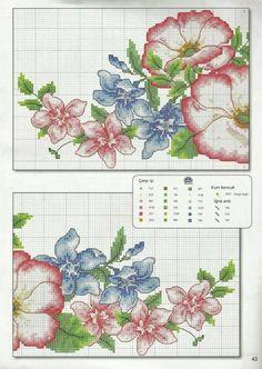 Cross Stitch Borders, Cross Stitch Flowers, Cross Stitch Charts, Cross Stitch Designs, Cross Stitching, Cross Stitch Patterns, Silk Ribbon Embroidery, Diy Embroidery, Cross Stitch Embroidery
