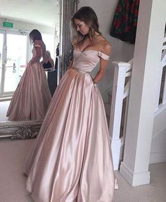 prom dresses, fashion off shoulder party dresses, sparkling evening gowns, long prom party dresses, pearl pink evening dresses Pink Prom Dresses, A Line Prom Dresses, Junior Bridesmaid Dresses, Prom Party Dresses, Modest Dresses, Ball Dresses, Homecoming Dresses, Ball Gowns, Formal Dresses