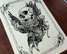 Tattoo Print Crow Rider by Mariusz Romanowicz / image 1 Atrapasueños Tattoo, Backpiece Tattoo, Knee Tattoo, Raven Tattoo, Body Art Tattoos, Sleeve Tattoos, Yakuza Tattoo, Tattoo Mafia, Crow Tattoos