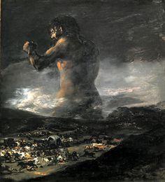 Francisco Goya Dev / The Colossus Tuval üzerine yağlıboya. 116 x 105 cm. Francisco Goya, Canvas Art Prints, Oil On Canvas, Spanish Artists, Spanish Painters, Arte Horror, Oil Painting Reproductions, Vintage Wall Art, Gravure