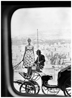 Tania Mallet (Vernier's favorite model) in a sundress by Fredrica, shoes from Charles Jourdan, photo by Vernier in Monte Carlo, Vogue UK, July 1960