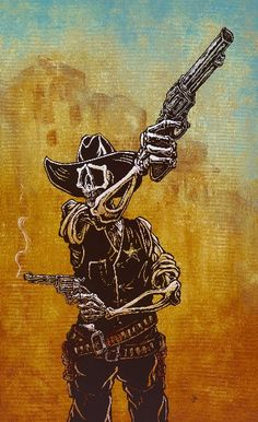 Law Dog by David Lozeau Wild Western Cowboy Skeleton Giclee Art Print ...