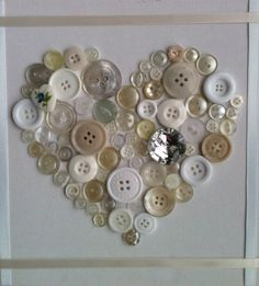 Unique Handmade Button Art Canvas Ivory / door Handmadecottagecraft