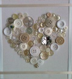 Unique Handmade Button Art Canvas Ivory / door Handmadecottagecraft