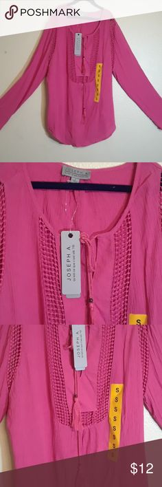 Joseph A. Woman's dusty rose shirt blouse Gorgeous and super comfortable. It's perfect for a pool cover up. The sides and front are a woven material, so I would suggest wearing something light underneath. Bright pink, for all of the girly girls out there. Joseph A Tops Tees - Long Sleeve
