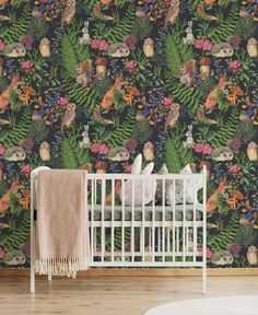 Quick makeovers with self-adhesive wallpaper, plants and murals – Nina's Apartment Nursery Wallpaper, I Wallpaper, Wallpaper Plants, Photo Mural, Temporary Wallpaper, Self Adhesive Wallpaper, Forest Animals, Metallic Colors, Beautiful Interiors