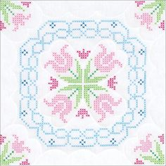 "Lace Tulips Stamped Cross Stitch Quilt Blocks - 18"" x 18"" 6/Pkg"