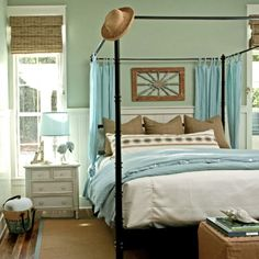 Coastal bedroom, like the burlap texture with pale blue....not a bed frame fan