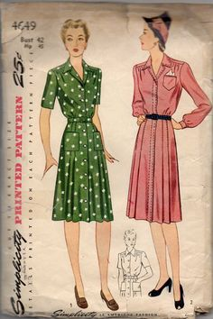 1940s Simplicity 4649 Misses Tailored Pleated Button Front Dress ...