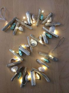 - Dog Christmas Crafts To Sell Videos - - Nature Crafts For Kids Scavenger Hunts Seashell Garland, Seashell Art, Seashell Crafts, Beach Crafts, Summer Crafts, Fish Crafts, Seashell Projects, Driftwood Projects, Driftwood Art