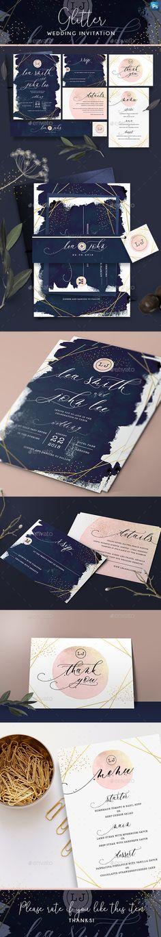 #Glitter #Wedding #Invitation - Wedding Greeting Cards