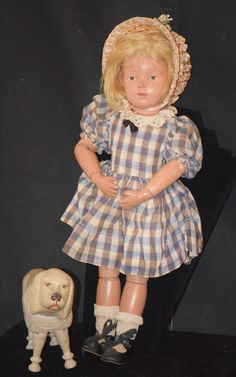 Antique Doll Schoenhut Poodle Dog Carved Wood Jointed