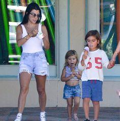 Kourtney Kardashian  in denim short