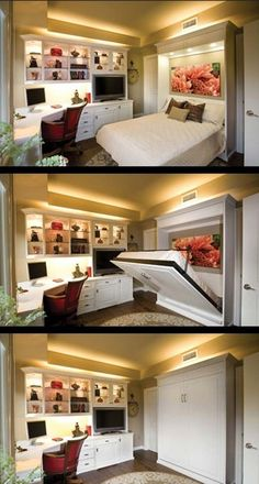 20 Tiny Bedroom Hacks Help You Make the Most of Your Space.Guest Room/Office with Murphy Bed Guest Bedroom Office, Guest Bedrooms, Teenage Bedrooms, Cottage Bedrooms, White Bedrooms, Cama Murphy, Murphy Bed Plans, Murphy Beds, Murphy Bed Desk