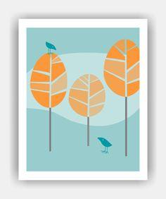 BIRD TALK Mid Century Modern Trees and Birds 8x10 by PosterPOP2, $11.95