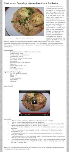 Chicken and Dumplings - Gluten Free Crock Pot Recipe