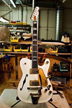 """Fender""""White Chicken"""" Guitar AKA Gretschacaster"""
