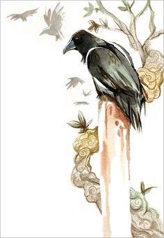 illustration of raven, charlene chua toronto #canadabird
