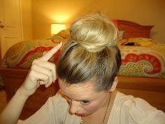 Best messy bun tutorial I have found so far...,