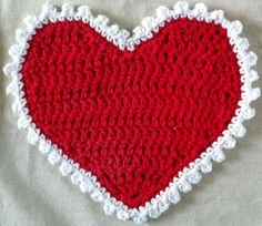 Valentine Heart Crochet Dishcloth. ♥ⓛⓞⓥⓔ♥