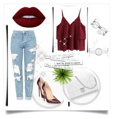 """Untitled #1"" by lejlakovac95 ❤ liked on Polyvore featuring beauty, Topshop, Christian Louboutin, Lime Crime and DKNY"