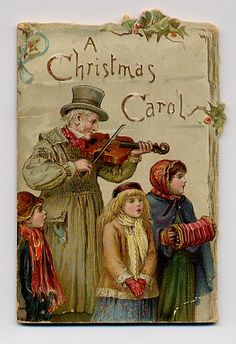 This Christmas card depicting a scene from  A Christmas Carol dates from the late 1880's.