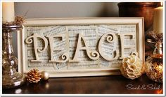 Christmas craft for 2013... Wall art for living room/music room made from my favorite Christmas sheet music!
