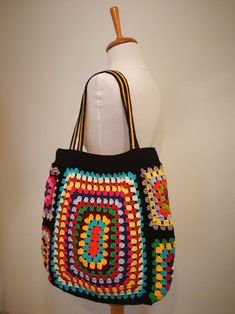 Crochet Bag Granny Square Bag Rainbow Bag Boho Bag Hippie | Etsy Crotchet Bags, Crochet Tote, Crochet Handbags, Crochet Purses, Knitted Bags, Crochet Gifts, Knit Crochet, Crochet Stitches, Hippie Crochet