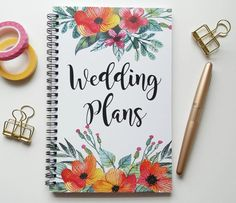Writing journal, spiral notebook, bullet journal, cute notebook, sketchbook, floral, engagement gift, blank lined grid - Wedding plans