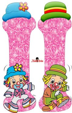 EUGENIA - KATIA ARTES - BLOG DE LETRAS PERSONALIZADAS E ALGUMAS COISINHAS: Alfabeto Patati e Patata Rosa School Frame, Send In The Clowns, Clowning Around, Carnival Birthday Parties, Circus Theme, Letters And Numbers, Smurfs, Origami, Happy Birthday
